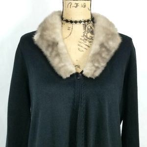 Emma James Cardigan with Mink Collar